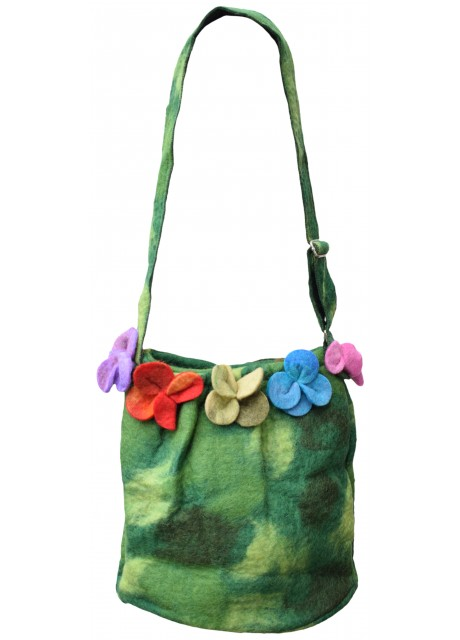 Felt Flower Green Tiedye Bag