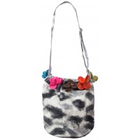 Felt Flower Grey Tiedye Bag