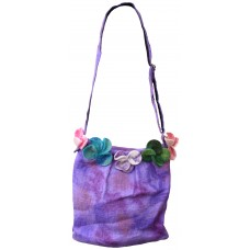 Felt Flower Purple Tiedye Bag