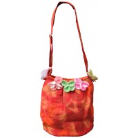 Felt Flower Red Tiedye Bag
