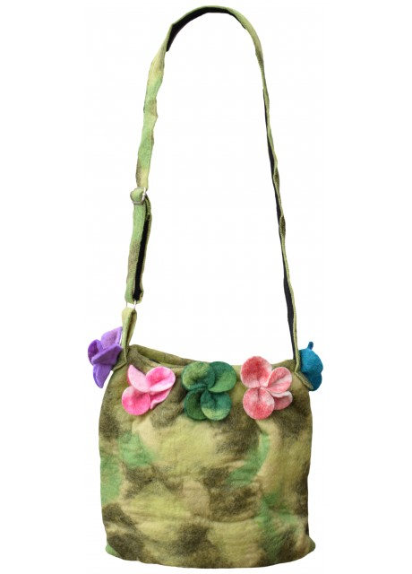 Felt Flower Lime Green Tiedye Bag