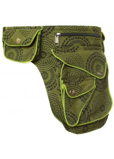 Heavy Cotton Waist Belt Bag Green