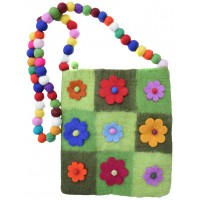 Nine Flower Felt Patchwork Bag Green