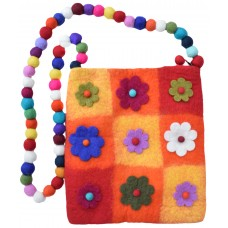 Nine Flower Felt Patchwork Bag Orange