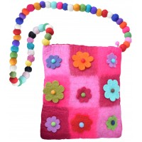 Nine Flower Felt Patchwork Bag Pink