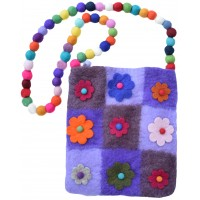 Nine Flower Felt Patchwork Bag Purple