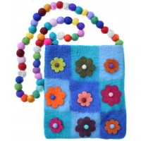 Nine Flower Felt Patchwork Bag Turqoise