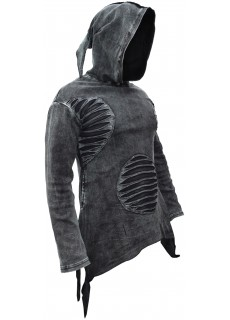 Stonewashed Asymmetrical Ripped Dark Hoody