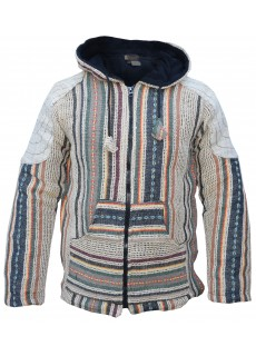 Gheri Jute Hemp Fleecelined Striped Jacket