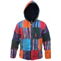 Patchwork Razorcut Ribs Fleecelined Rainbow Boho Jacket