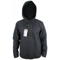 Black Three Button BTC Pullover