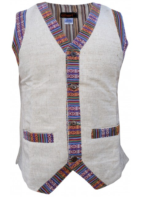 Contrast Border Boho Single Breasted Cotton Hemp Waist Coat