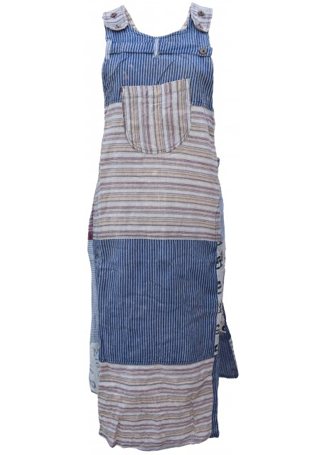 Midi Patchwork Sleeveless Adjustable Pinafore Long