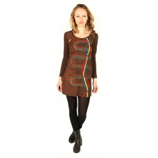 Brown Full Sleeve Psychedelic Dress