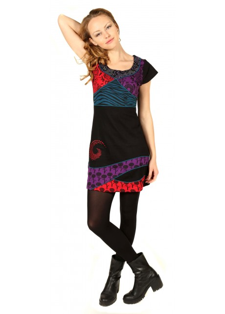 Spiral Embroidery Scoop Neck Dress