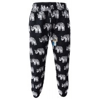 Floral Black White Elephant Print Genie Pants