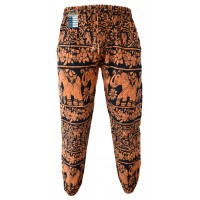 Floral Orange Elephant Print Genie Pants