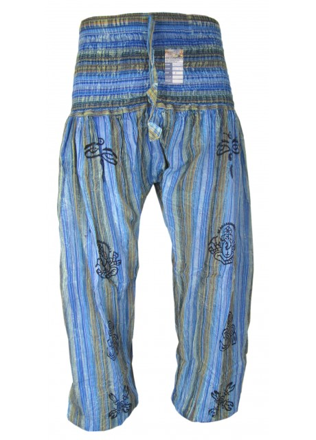 Stonewashed Torqoise Blue Genie Pants