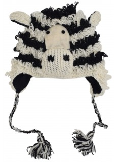Woollen Handknitted Fleece Lined Trapper Animal Hat Zebra