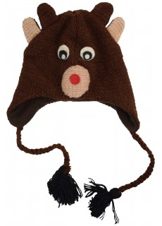 Woollen Handknitted Fleece Lined Trapper Animal Hat Cute Eyes