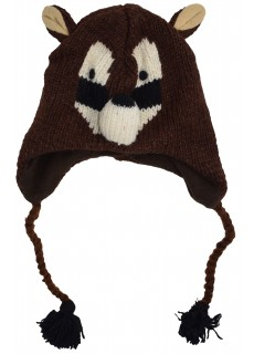 Woollen Handknitted Fleece Lined Trapper Animal Hat Racoon