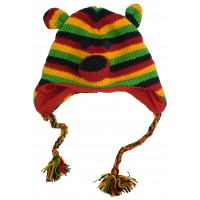 Woollen Handknitted Fleece Lined Trapper Animal Hat Rasta Bear