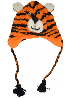 Woollen Handknitted Fleece Lined Trapper Animal Hat Orange Tiger