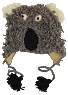 Woollen Handknitted Fleece Lined Trapper Animal Hat Koala