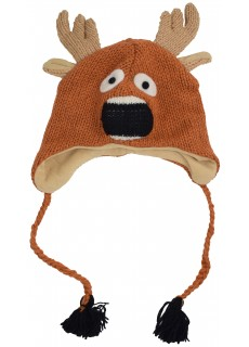 Woollen Handknitted Fleece Lined Trapper Animal Hat Reindeer