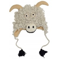 Woollen Handknitted Fleece Lined Trapper Animal Hat Goat