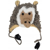 Woollen Handknitted Fleece Lined Trapper Animal Hat Baboon