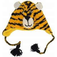 Woollen Handknitted Fleece Lined Trapper Animal Hat Mustard Tiger