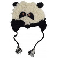 Woollen Handknitted Fleece Lined Trapper Animal Hat Panda