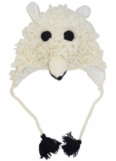 Woollen Handknitted Fleece Lined Trapper Animal Hat Polar Bear