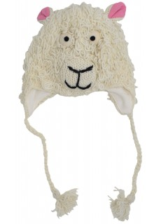 Woollen Handknitted Fleece Lined Trapper Animal Hat White Sheep