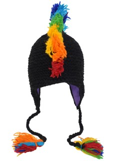 Wool Mohawk Hat Rainbow Black