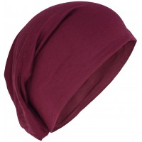 Stretchable Beanie Cotton Hat Maroon