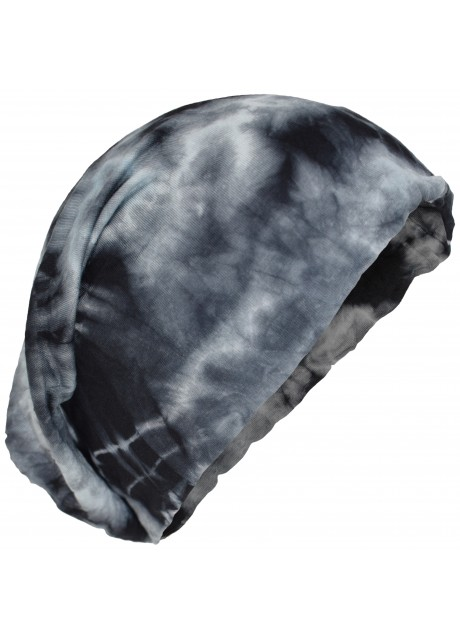 Stretchable Beanie Cotton Hat Black Tie Dye