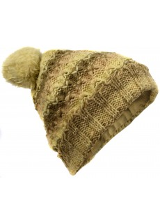 Folded Pom Pom Mustard Mix Hat