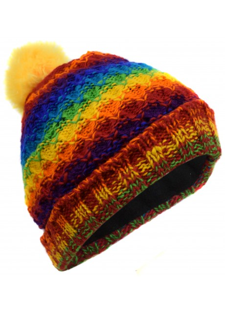 Folded Pom Pom Rainbow Mix Hat
