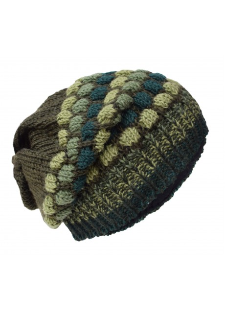 Bubbleknit Green Beanie Woolly Hat