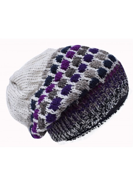 Bubbleknit Grey Purple Beanie Woolly Hat