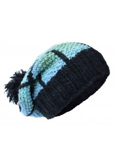 Patch Pom Pom Black Soft Blue Woolly Hat
