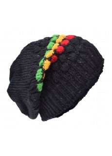 Bubbleknit Black Rasta Beanie Woolly Hat