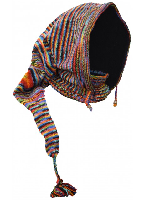 Elf Hood Black Rainbow Tiedye