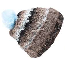 Folded Pom Pom Baby Blue Grey Mix Hat