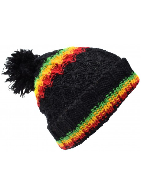 Folded Pom Pom Black Rasta Hat