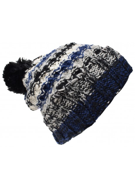Folded Pom Pom Blue Black Tiedye Hat