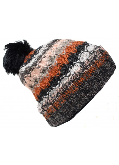 Folded Pom Pom Brown Charcoal Mix Hat