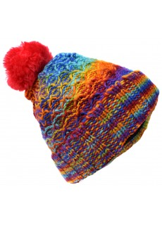 Folded Pom Pom Rainbow Tiedye Hat